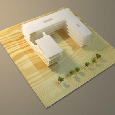 Architektonický model radnice v Ostravě